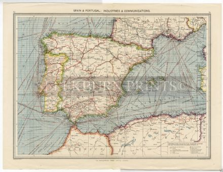 1905 Map PORTUGAL SPAIN Balearics SEA ROUTES Industry SAFFRON Wine OLIVES Cork